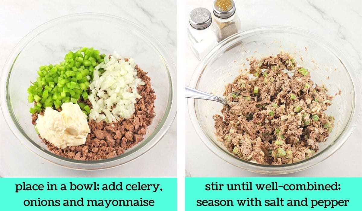 two images, one of chopped roast beef, celery, onions, and mayonnaise in a bowl with text that says place in a bowl, add celery, onions and mayonnaise, the other of the salad mixed together with salt and pepper shakers on the side with text that says stir until well combined, season with salt and pepper