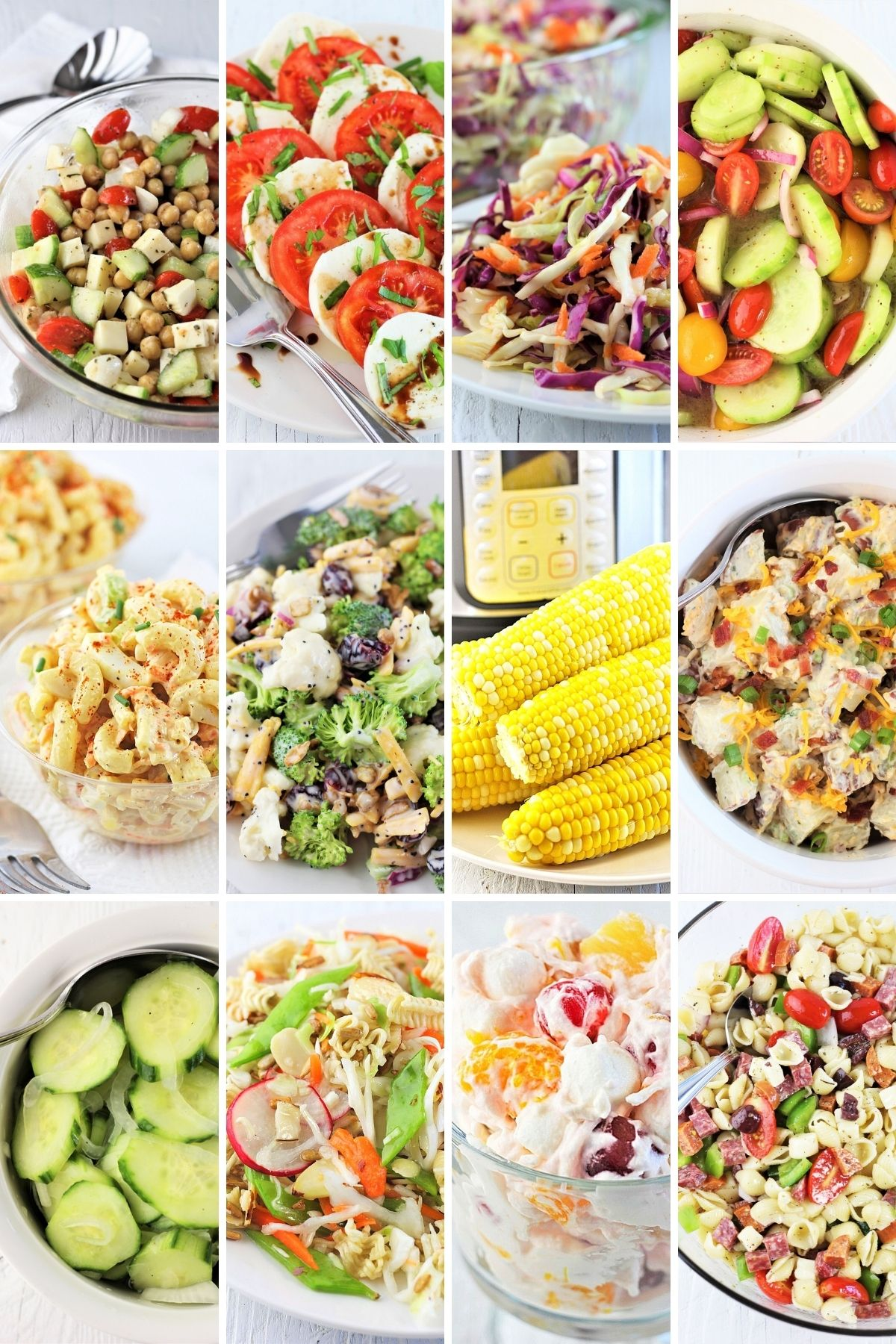 collage of 12 summer picnic salads and side dishes