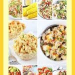 collage of 12 salads and side dishes with text overlays that say 12 easy summer picnic salads and side dishes, nowcookthis.com