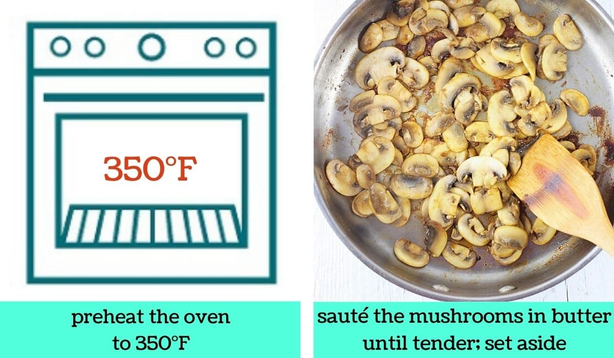 two images, one a graphic of an oven with text that says preheat the oven to 350 degrees Fahrenheit, the other of a pan of cooked mushrooms with a wooden spoon with text that says sauté the mushrooms in butter until tender, set aside