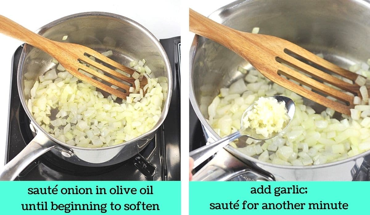 two images, one of onions in a pot with a wooden spoon with text that says sauté onion in olive oil until beginning to soften, the other of a spoonful of chopped garlic being added to the pot with text that says add garlic, sauté for another minute