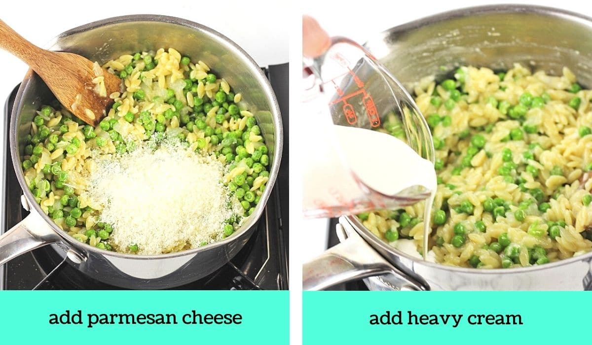 two images, one of parmesan cheese added to the pot with text that says add parmesan cheese, the other of heavy cream being poured into the pot with text that says add heavy cream