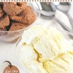 two bowls of ice cream, one vanilla and one chocolate, with text overlays that say easy no-churn ice cream, vanilla or chocolate, get the recipe, and nowcookthis.com
