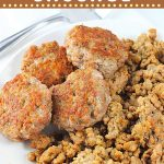 Sausage patties and crumbles on a plate with text overlays that say now cook this, homemade breakfast sausage, patties or crumbles
