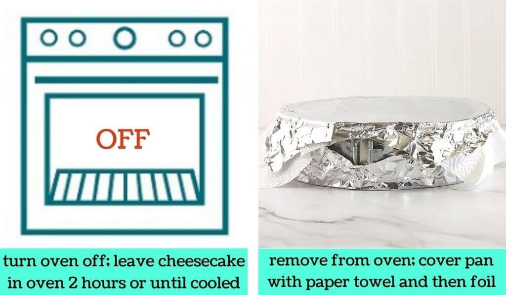 two images, one a graphic of an oven with text that says turn oven off, leave cheesecake in oven 2 hours or until cooled, the other of the pan covered with paper towel and foil with text that says remove from oven, cover pan with paper towel and then foil