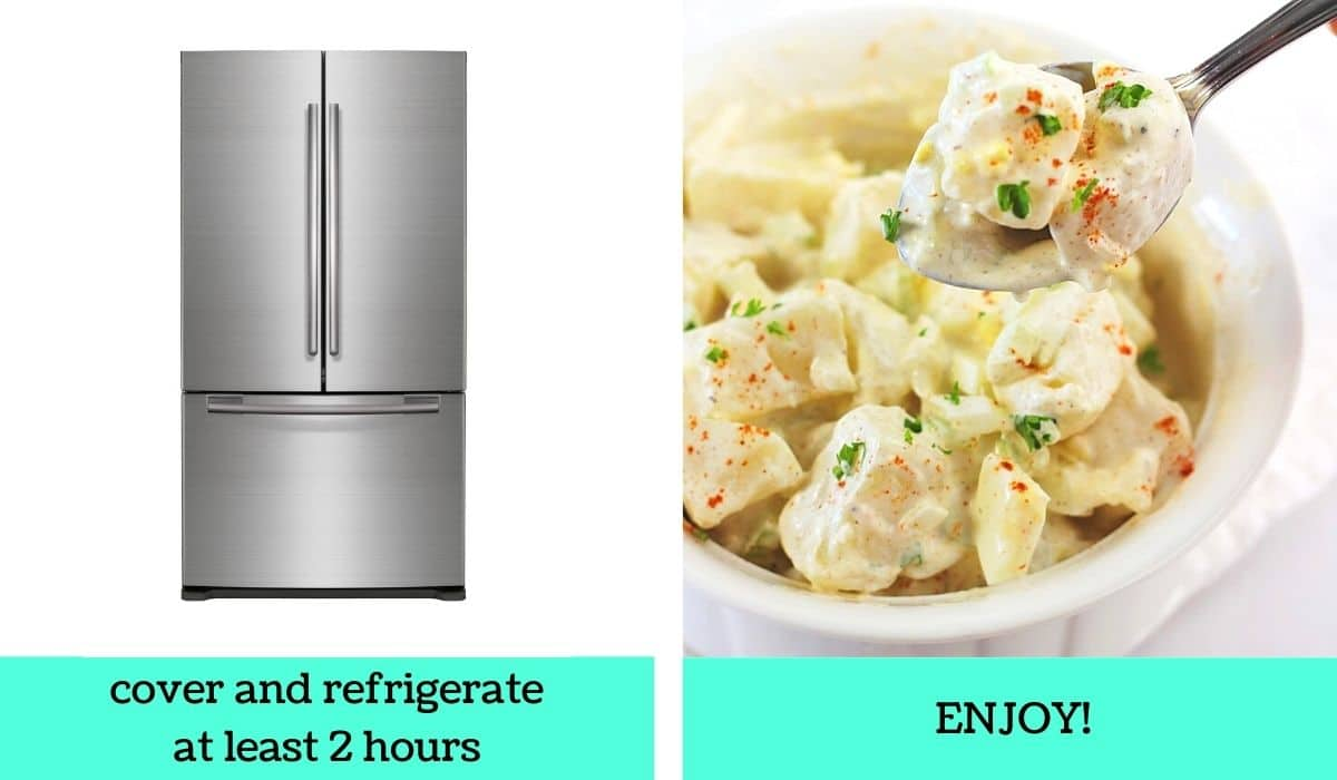 two images, one of a refrigerator with text that says cover and refrigerate at least 2 hours, the other of a bowl of the finished salad with a spoonful being taken out with text that says enjoy