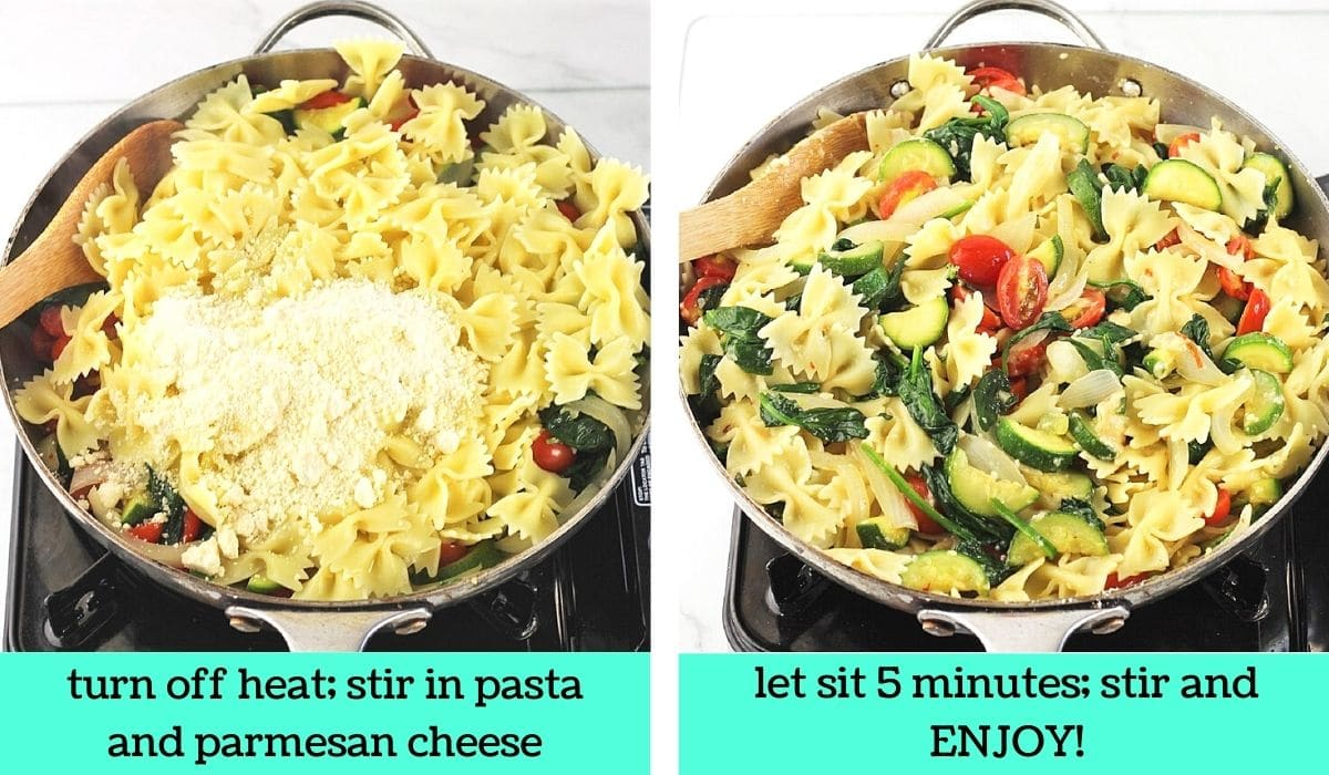 two images, one of the cooked pasta and parmesan cheese added to the pan with text that says turn off heat, stir in pasta and parmesan cheese, the other of the completed dish in the pan with text that says let sit 5 minutes, stir and enjoy