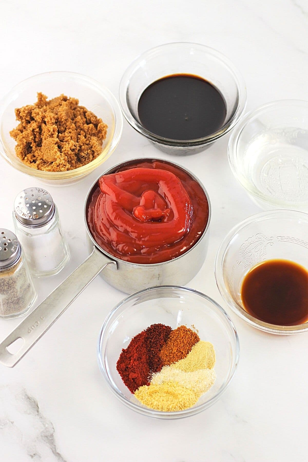 all of the ingredients needed to make homemade no-cook barbecue sauce