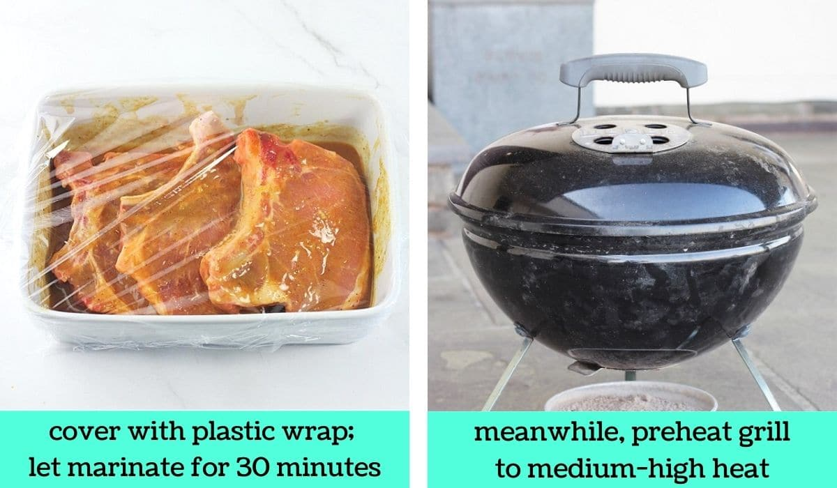 two images, one of the pork chops and marinade in the dish covered with plastic wrap with text that says cover with plastic wrap, let marinate for 30 minutes, the other of a charcoal grill with text that says meanwhile, preheat grill to medium-high heat