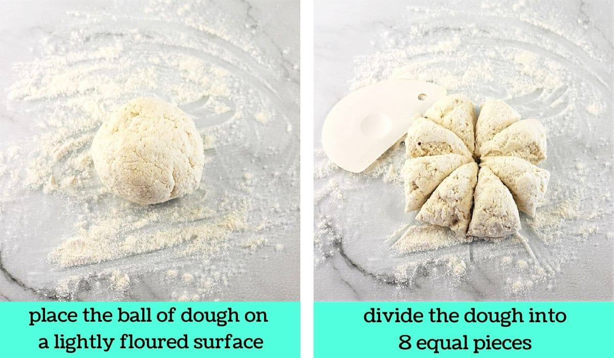 two images, one of a ball of dough on a floured surface with text that says place the ball of dough on a lightly floured surface, the other of the ball of dough divided into 8 pieces with text that says divide the dough into 8 equal pieces