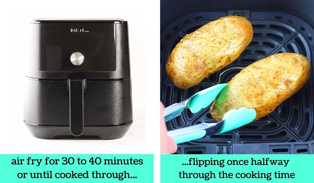 two images, one of an air fryer with text that says air fry for 30 to 40 minutes or until cooked through, the other of the potatoes in the air fryer basket being flipped with tongs with text that says flipping once halfway through the cooking time