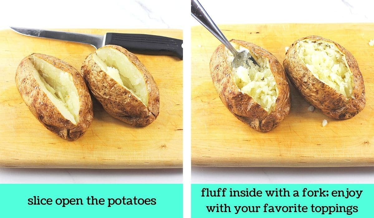two images, one of two potatoes sliced open on a cutting board with a knife with text that says slice open the potatoes, the other of the two potatoes on a cutting board with a fork fluffing the inside with text that says fluff inside with a fork, enjoy with your favorite toppings