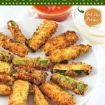 breaded zucchini sticks on a plate with text overlays that say now cook this, crispy breaded air fryer zucchini sticks, and get the recipe