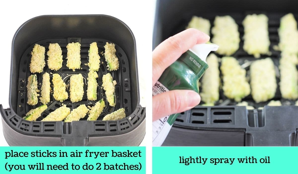 two images, one of the breaded zucchini sticks in an air fryer basket with text that says place sticks in air fryer basket (you will need to do 2 batches), the other of the sticks being sprayed with oil with text that says lightly spray with oil
