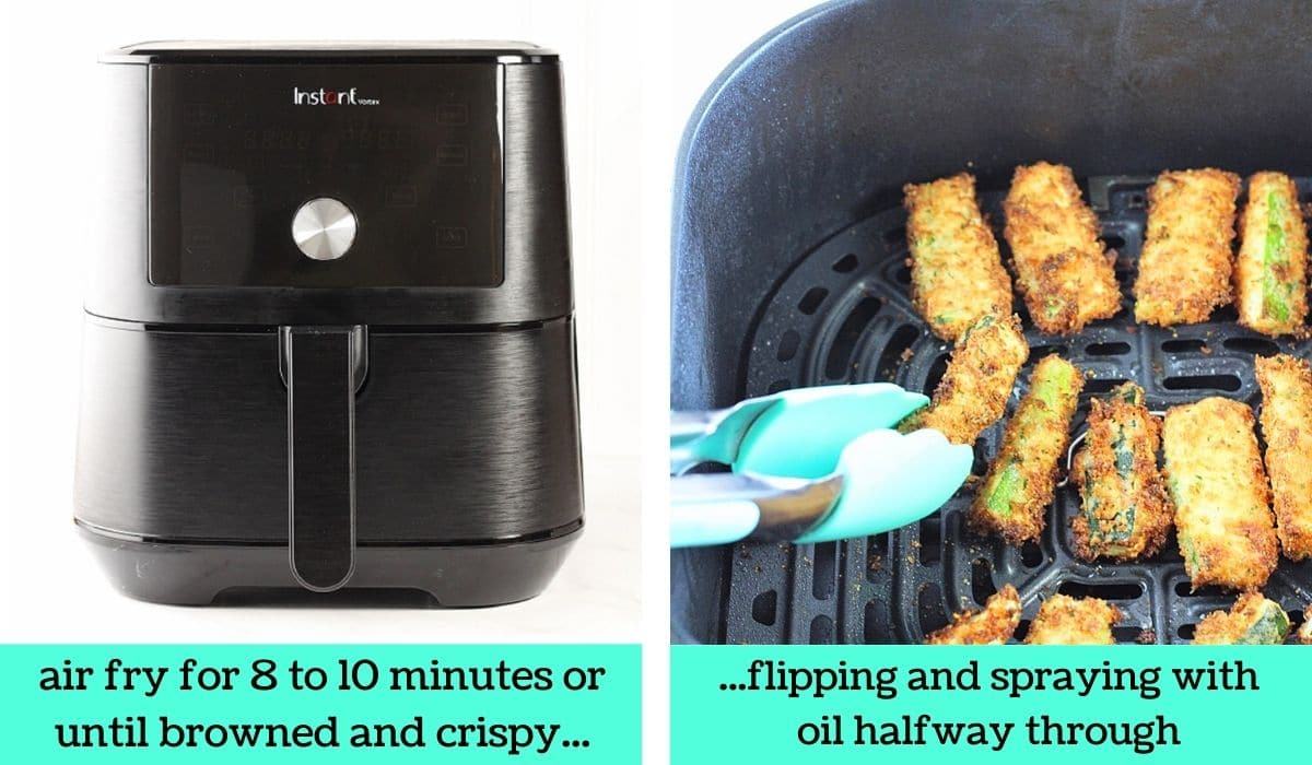 two images, one of an air fryer with text that says air fry for 8 to 10 minutes or until browned and crispy, the other of the zucchini sticks being flipped with tongs with text that says flipping and spraying with oil halfway through