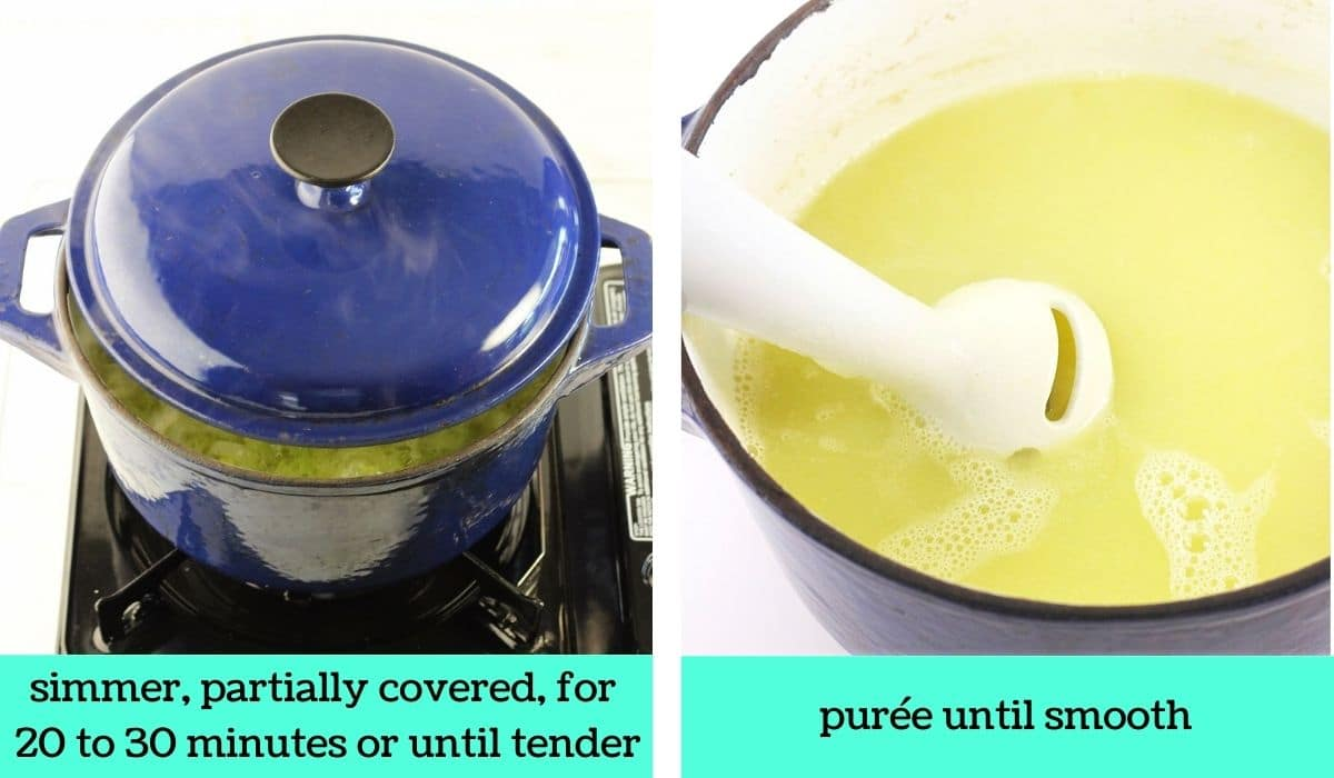 two images, one of the pot partially covered on the stove top with text that says simmer, partially covered, for 20 to 30 minutes or until tender, the other of an immersion blender in the soup with text that says purée until smooth