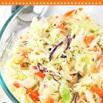 bowl of coleslaw with text overlays that say now cook this, classic creamy coleslaw, and get the easy recipe