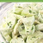 creamy cucumber salad in a bowl with text overlays that say now cook this, creamy cucumber salad with onion and dill, and get the recipe