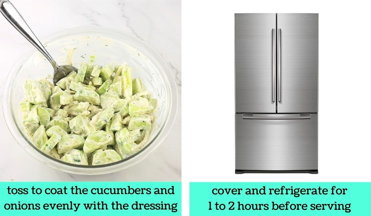 two images; one of the cucumbers and onions being tossed with the dressing with text that says toss to coat the cucumbers and onions evenly with the dressing; the other of a refrigerator with text that says cover and refrigerate for 1 to 2 hours before serving