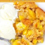 peach cobbler in a bowl with ice cream with text overlays that say now cook this, easy fresh peach cobbler, and get the recipe