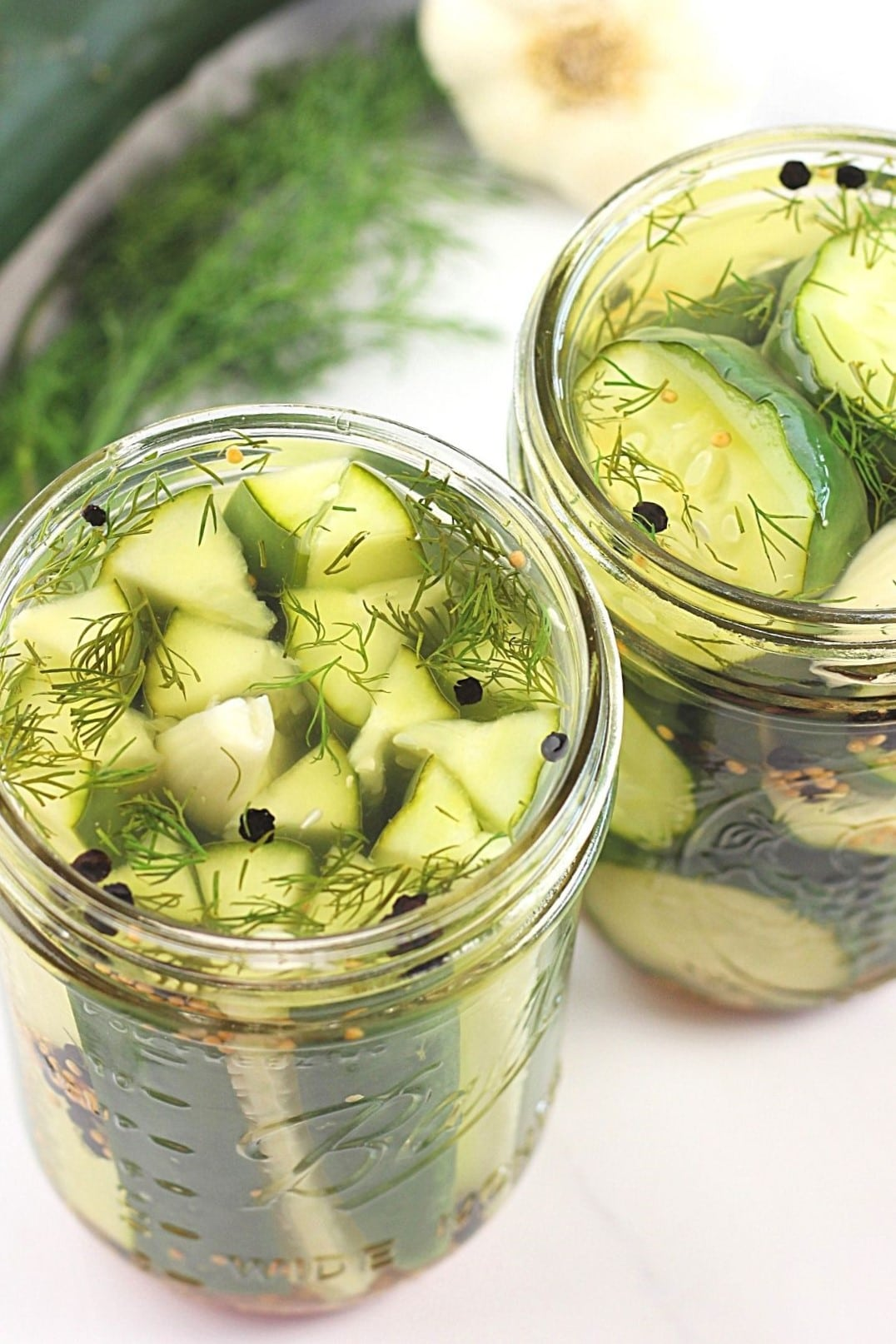 2 jars of garlic and dill 24-hour refrigerator pickles, one that is pickle spears, the other slices, with a cucumber, fresh dill, and garlic in the background