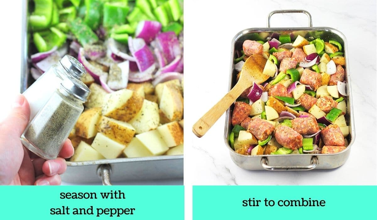 two images; one of salt and pepper being added to the pan with text that says season with salt and pepper; the other showing the ingredients in the pan being stirred with a wooden spoon with text that says stir to combine