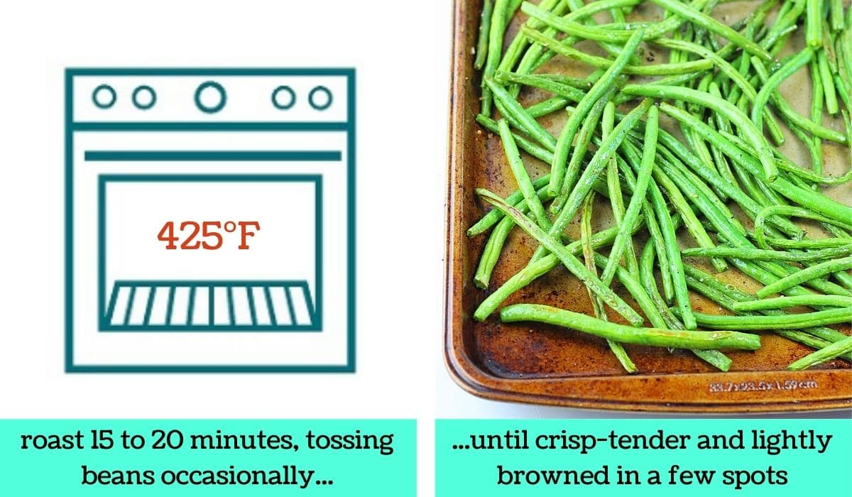 two images; one a graphic of an oven with text that says 425 degrees Fahrenheit and roast for 15 to 20 minutes, tossing beans occasionally; the other of the finished roasted green beans on a baking sheet with text that says until crisp-tender and lightly browned in a few spots