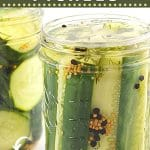 2 jars of pickles with text overlays that say now cook this, garlic and dill 24-hour refrigerator pickles, and get the recipe