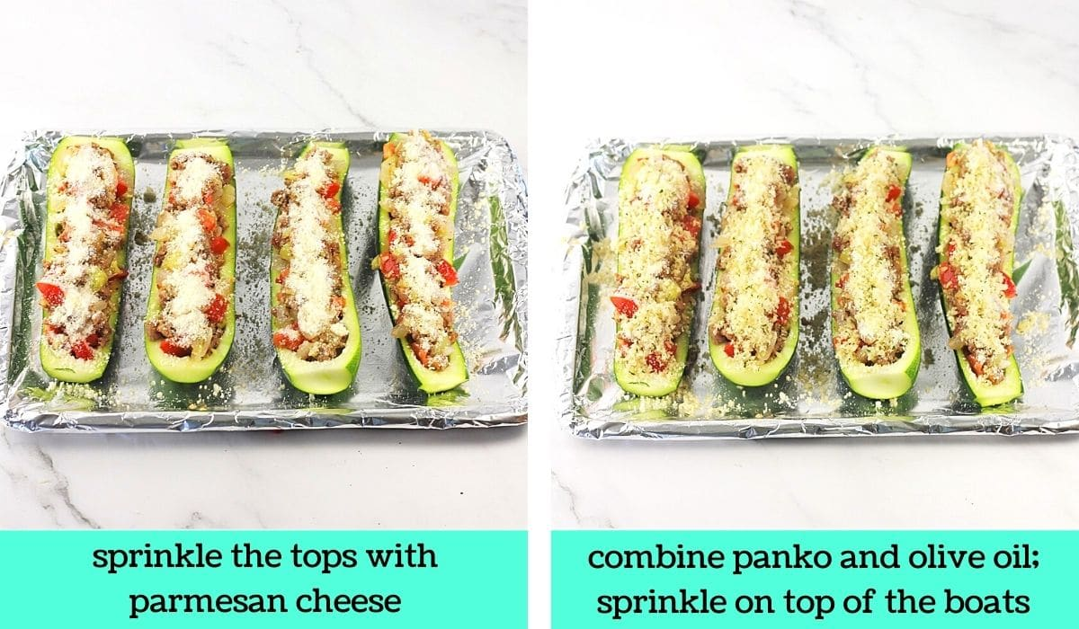 two images; one of the filled zucchini boats topped with parmesan cheese with text that says sprinkle tops with parmesan cheese; the other of the filled zucchini boats topped with breadcrumbs with text that says combine panko and olive oil; sprinkle on top of the boats