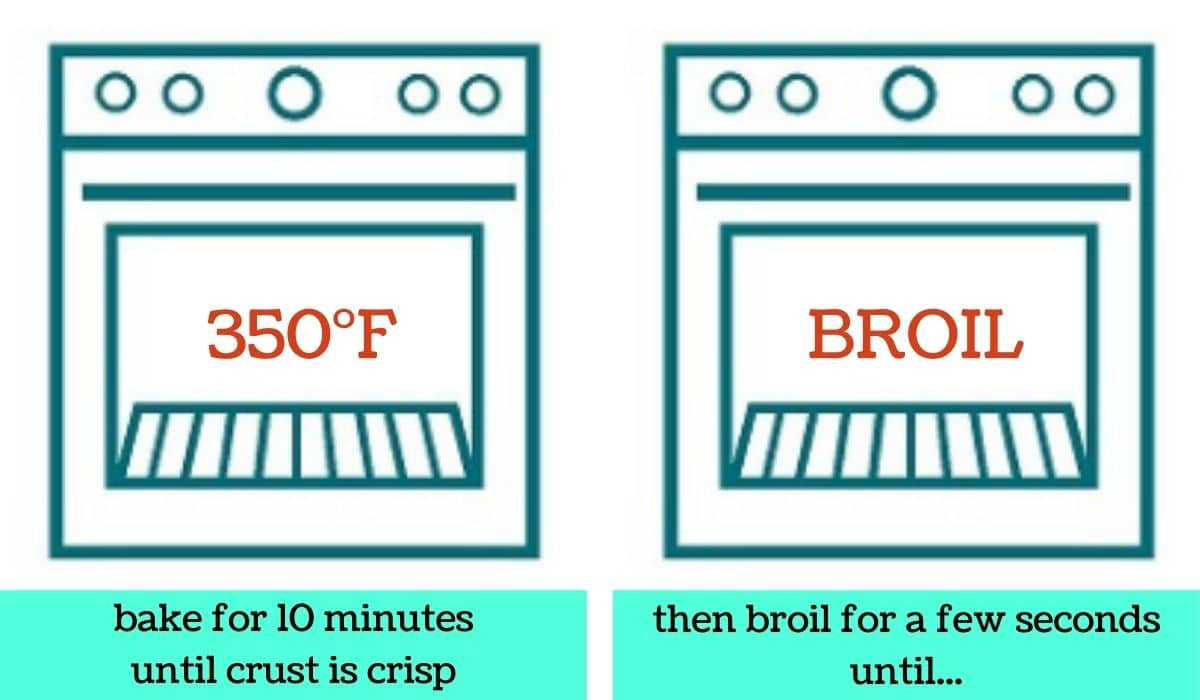 2 images; one a graphic of an oven with text that says 350 degrees Fahrenheit and bake for 10 minutes until crust is crisp; the other a graphic of an oven with text that says broil and then broil for a few seconds until...