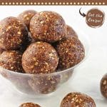 small bowl filled with energy bites with text overlays that say now cook this, oatmeal, raisin and pecan energy bites, and get the recipe