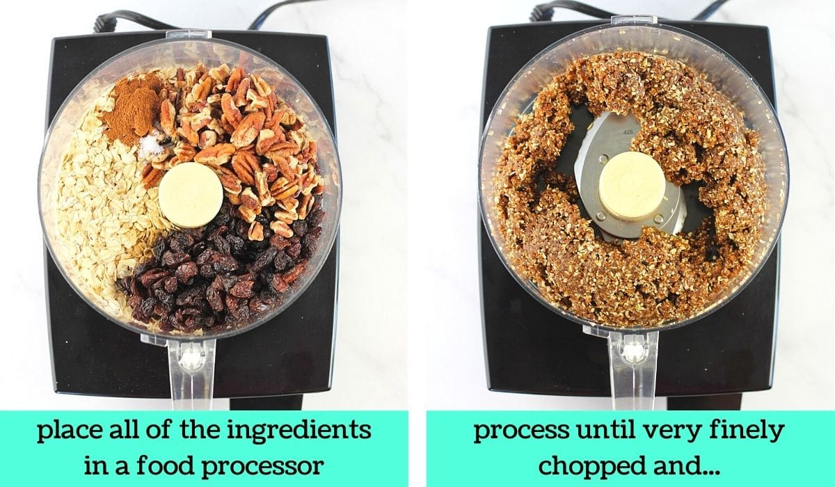 2 images; one of all of the ingredients in a food processor with text that says place all of the ingredients in a food processor; the other of the ingredients in the food processor after being processed with text that says process until very finely chopped and...