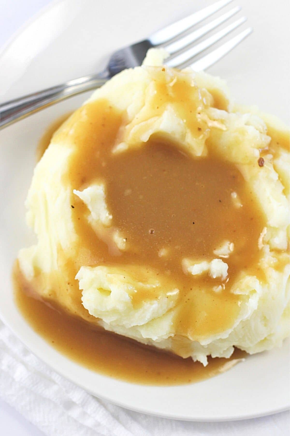 mashed potatoes and gravy on a white plate with a fork on the side