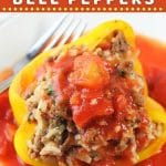 stuffed bell pepper covered in tomato sauce with text overlays that say now cook this, saucy stuffed bell peppers, and get the recipe