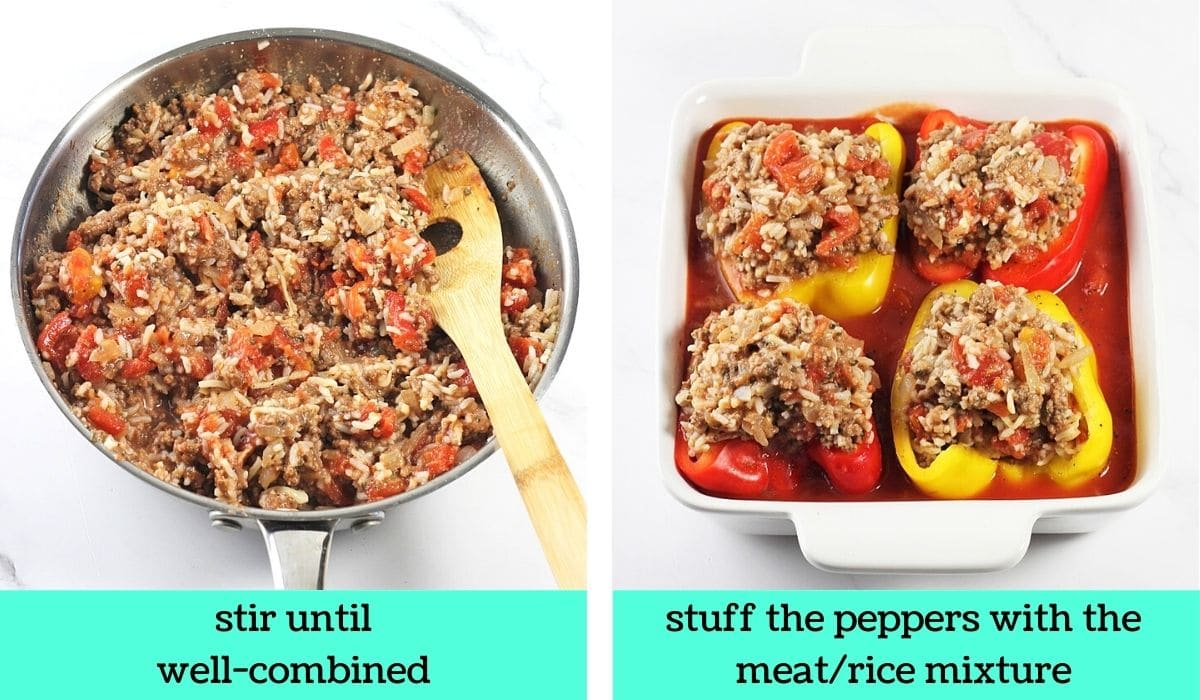 2 images; one of the ground beef/rice mixture in a pan with a wooden spoon with text that says stir until well-combined; the other of the pepper halves in the baking dish stuffed with the beef and rice mixture with text that says stuff the peppers with the meat/rice mixture