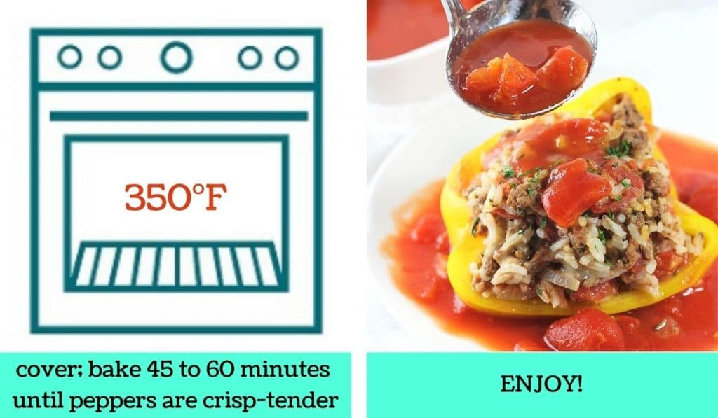 2 images; one a graphic of an oven with text that says 350 degrees Fahrenheit, cover, bake 45 to 60 minutes until peppers are crisp-tender; the other of a finished stuffed peppers on a plate with sauce being poured on it with text that says enjoy