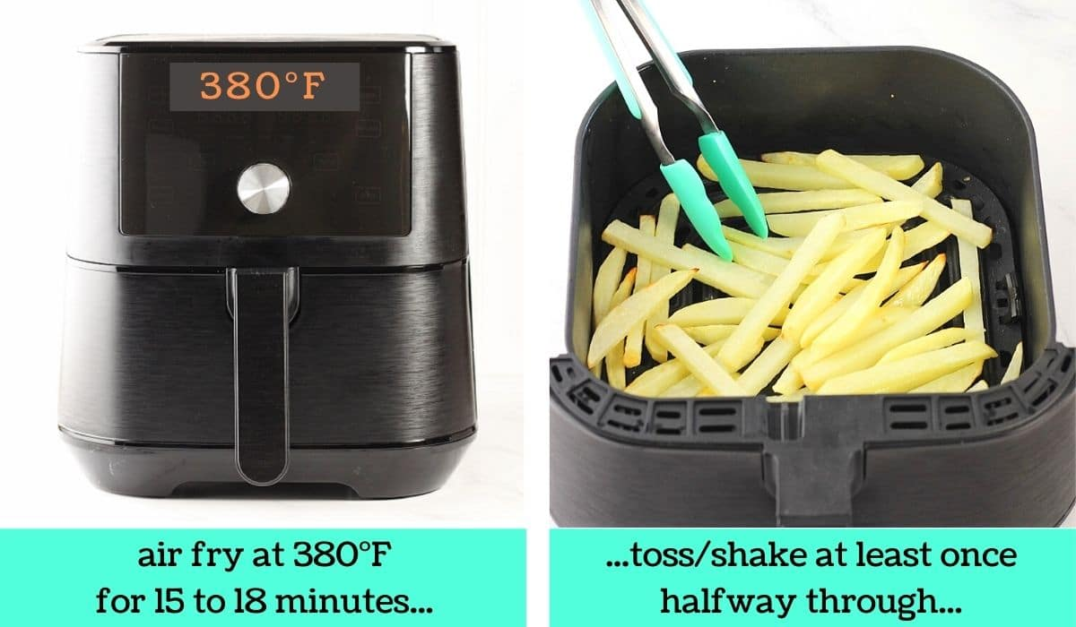 2 images; one of an air fryer with text that says air fry at 380 degrees Fahrenheit for 15 to 18 minutes; the other of the potatoes being tossed in the air fryer basket with tongs with text that says toss/shake at least once halfway through