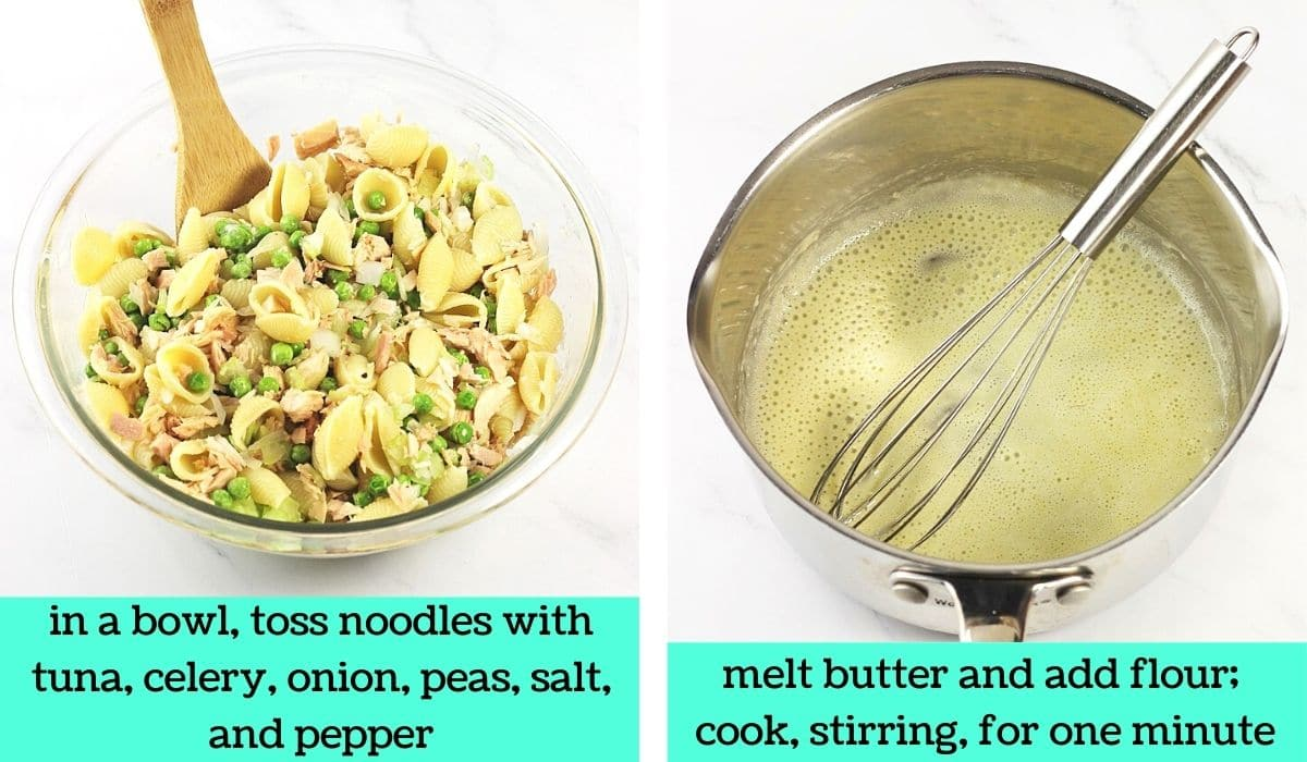 2 images; one of the pasta shells mixed with other ingredients in a bowl with a wooden spoon with text that says in a bowl, toss noodles with tuna, celery, onion, peas, salt and pepper; the other of a roux in a pot with a whisk with text that says melt butter and add flour, cook, stirring, for one minute