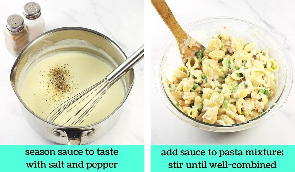 2 images; one of the sauce in the pot being seasoned with salt and pepper with text that says season sauce to taste with salt and pepper; the other of the sauce being stirred into the pasta mixture in the bowl with a wooden spoon with text that says add sauce to pasta mixture, stir until well-combined