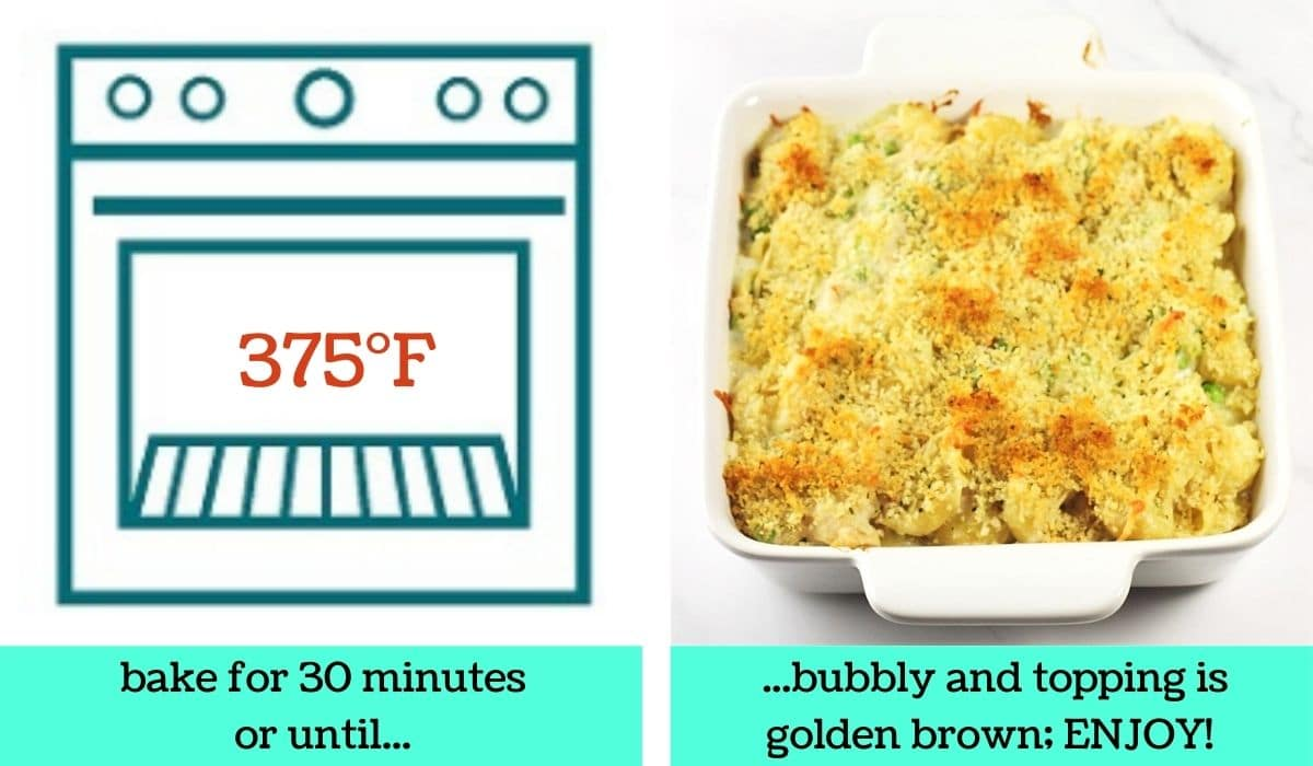 2 images; one a graphic of an oven with text that says 475 degrees Fahrenheit and bake for 30 minutes or until; the other of the finished casserole with text that says bubbly and topping is golden brown, enjoy